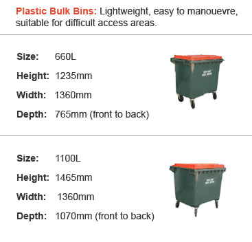 Plastic Bulk Bins: Lightweight, easy to manouevre, suitable for difficult access areas.