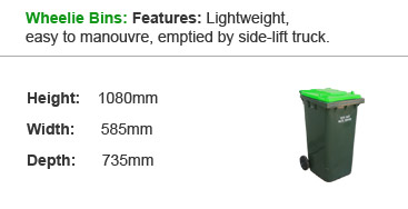 Wheelie Bins: Features: Lightweight, easy to manouvre, emptied by side-lift truck.