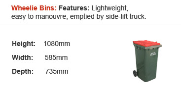 Wheelie Bins : Features: Lightweight, easy to manouvre, emptied by side-lift truck.